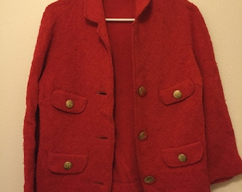 Vintage Red Sweater with Gold Buttons