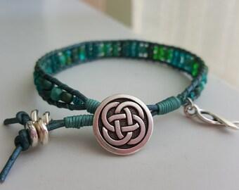 Teal Wrap Ribbon Awareness Bracelet For Ovarian Cancer, Cervical Cancer, OCD, and More Celtic Knot Tree Of Life Bracelet