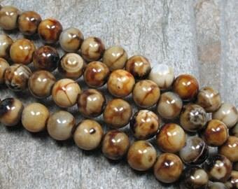 "8 mm Fired Agate Beads, 15"" Strand - Item B0586"