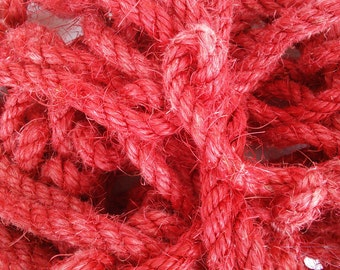"""5' (1.5 m) Red Sisal Rope, Fuchsia Sisal Rope, Dyed Chinese Red Color, 1/4"""" or 3/8"""" or 1/2"""" (6 mm, 9 mm or 12 mm)"""