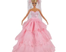 Handmade Doll Clothes Pink Princess Party Wedding Dress Gown With Veil For Barbie Dolls