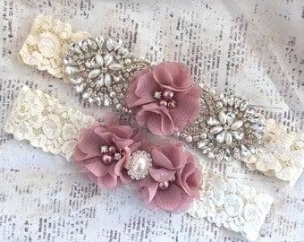 Bridal Garter Vintage, Lace Garter Set, Ivory Lace Garter, Lace Garters, Vintage Garters, Dusty Rose Garters, Blush Garters, Bridal Garter