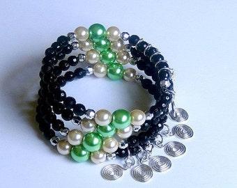 ON SALE 30% OFF Memory wire bracelet - black / gold/ aquamarine - multi stacked - beaded bangle cuff coiled bracelet - gypsy wrap bracelet -