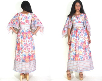 Vintage 70s Rose Floral Striped Angel Bell Sleeve Maxi Dress Hippie Psychedelic