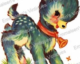 Vintage Shabby Retro Dark Blue Deer Fawn Digital Download — Printable Ephemera Scrapbooking