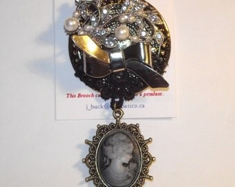 Cameo Theme.  One-of-a-Kind collage brooch &/or pendant, made from recycled vintage jewelry.  Black, pearl, rhinestones.  .#76.