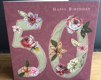 Age 50-Greeting Card- handfinished