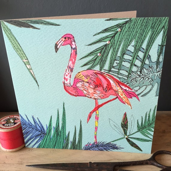 Flamingo-Greeting Card- handfinished