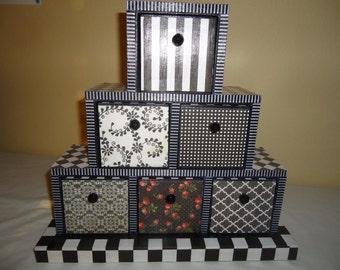 Black and White Wooden 6 Drawer Jewelry Chest/Trinket Keepsake Box