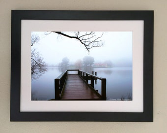 Morning vista, Landscape photography, Lake, Mist, Fine Art print, Ready to frame, Pier, Water, Trees