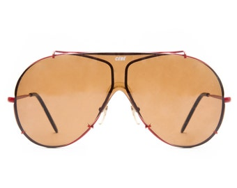 Cebe Vintage Orange / Red Two Toned  UV Sunglasses Made in France