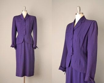 40s Suit // 1940's Purple Wool Bouclé Tailored Suit // S-M