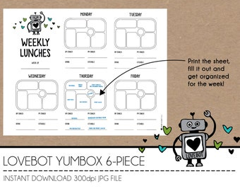 Instant Download Lunch Planner - LoveBot YumBox 6-Piece