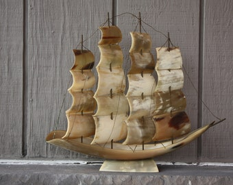 Vintage Nautical Handmade Steer Horn Sailing Galleon