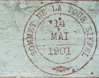 """Paris Art, Eiffel Tower Tour Stamp, Top Of The Eiffel, Shabby Cottage Chic Print, Aqua Rustic Decor, Wall Decor, Paris Sign- """"Eiffel Tour"""""""