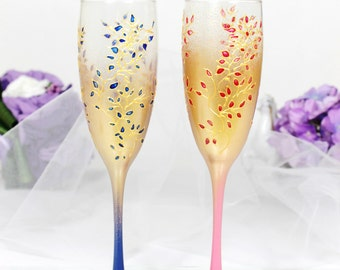 Gold&Pink and Royal blue Wedding champagne glasses-Hand painted Wedding flutes-Floral Wedding Favor-Stained glass toasting glass-WeddingGift