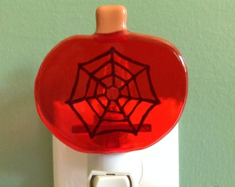 Adorable Pumpkin with Spider Web, Fall, Fused Glass Night Light (SALE)