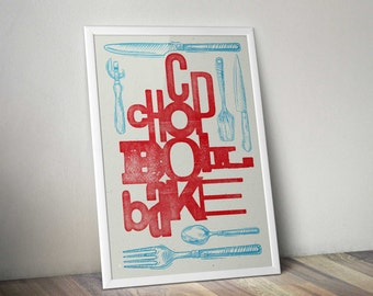 Letterpress style Kitchen typography print