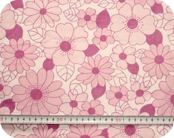 Floral retro vintage fabric - pink and white