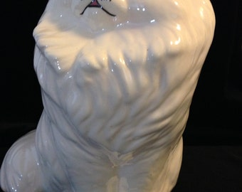 Large Persian White Cat Ceramic