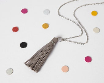 Grey leather tassel necklace - leather tassel - long tassel - boho long necklace - grey tassel - grey necklace