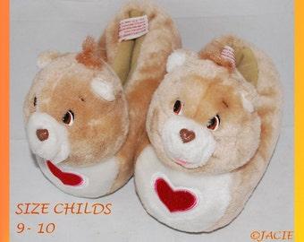 Vintage Child Size 9-10 Tenderheart Care Bear Slippers