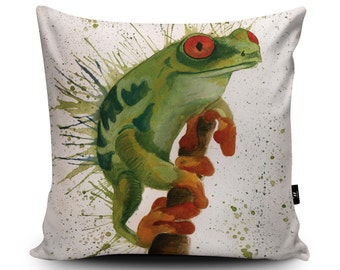 Frog Cushion, Frog Pillow, Reptire Cushion Cover, Toad Pillow Case, Garden Illustration Home Decor, 18inch/23.6inch Vegan Suede Cushion