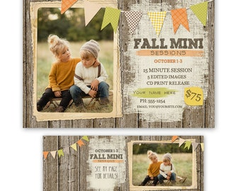 Fall Mini Session Template - photography marketing template - mini session template + TIMELINE COVER