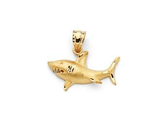 14K Yellow Gold Shark Pendant, Shark Pendant, Shark Jewelry, Nautical Jewelry, Gold Shark, Nautical Pendant, Ocean, Shark, Sea