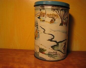Vintage Korday Hard Candies Tin Santa Mix