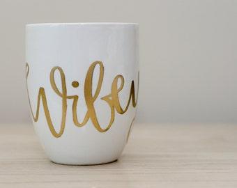 Wifey, gold embossed, white porcelain mug