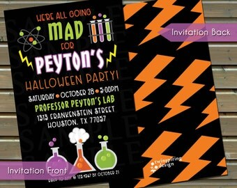Halloween Mad Scientist Birthday Party Invitation - Printed Invitations with Envelopes