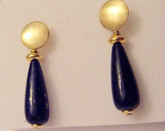 earring lapis-lazuli gold teardrop with gold cubes