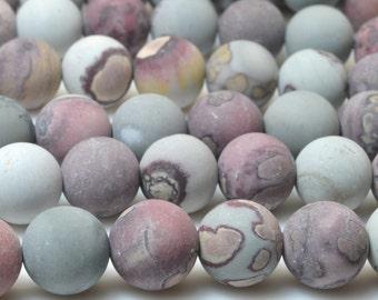 37 pcs of Natural  Red Grass flower Jasper stone matte round beads in 10mm (04389#)