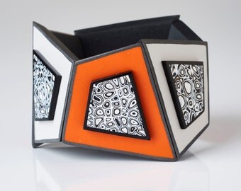 Tangerine Grey Geo Cuff