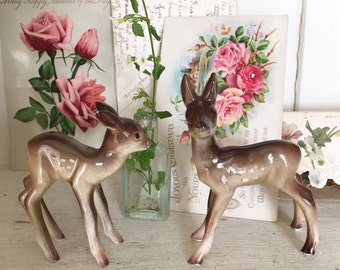 A gorgeous pair of vintage Staffordshire pottery fawns or deer