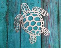 "Sea Turtle Large 26"" Handmade Metal Wall Hanging, aluminum, will not rust or tarnish, very lightweight, great beach house decor, deck decor"