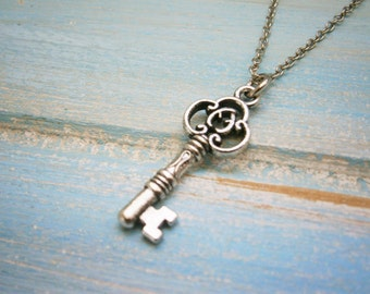 Antique Silver Small Filigree Key Charm Necklace/Boho Necklace/Bridesmaids Gifts/Key Necklace/Love Necklace/Steampunk Jewellery/Key Jewelry