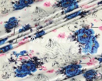 Floral Printed Silk Fabric - Silk Crepe de Chine - Silk CDC Fabric with Bold Floral Print - SF10