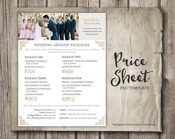 wedding photography price sheet price list template wedding photoshop template wedding package prices