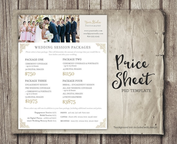 Wedding Photography Price Sheet Price List Template