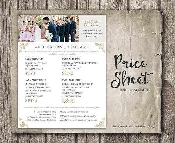 Wedding Rates Photography: Wedding Photography Price Sheet Price List Template