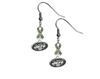 """New York Jets Football """"Salute To Service"""" Camo Camouflage Ribbon Earrings"""