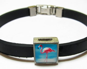 Pink Flamingo Bird Link With Choice Of Colored Band Charm Bracelet