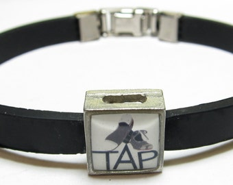 Tap Shoes Dance Link With Choice Of Colored Band Charm Bracelet