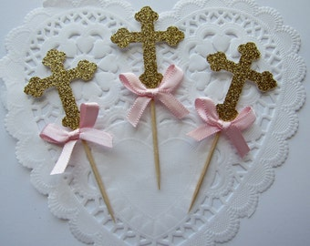 Gold and Pink Cross Cupcake Toppers, Baptism Cupcake Toppers, Communion Cupcake Toppers, Gold Glitter Cross Cupcake Toppers, Baptism Decor