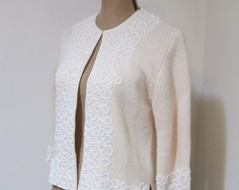 Winter White Vintage 50s 60s Beaded Neiman Marcus Fall Sweater 1950s Sweater Fall Vintage Sweater 1960 Sweater Womens Sweater Vintage Staple