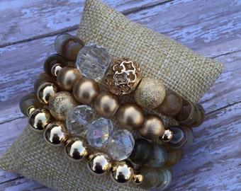 Agate beaded bracelet set, neutral, gold, women's bracelets