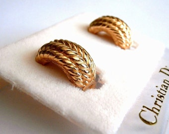 Signed Christian Dior Gold Plated Clip Earrings New