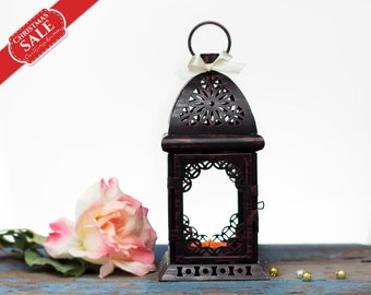 Clarrat Moroccan Lantern/ Scheherazade Exotic Candle Holder/ Wedding Lanterns/ Moroccan decor/ Metal Candle Holder/ Wedding Lighting